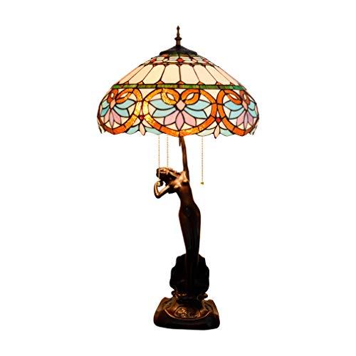 Gekleurde glazen tafellamp 3 lichtjes trekketting 30 inch groot Tiffany-stijl blauw wit bureaulicht antieke basis voor woonkamer salontafel slaapkamer