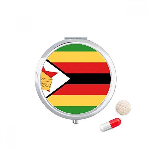 DIYthinker Zimbabwe Nationale Vlag Afrika Land Reizen Pocket Pill case Medicine Drug Opbergdoos Dispenser Spiegel Gift