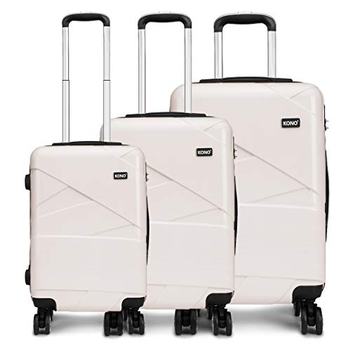 Kono Luggage Sets 3 Piece Lightweight 20/24/28 Inch Hard Shell ABS Travel Trolley Suitcase 55cm/67cm/76cm (Beige)