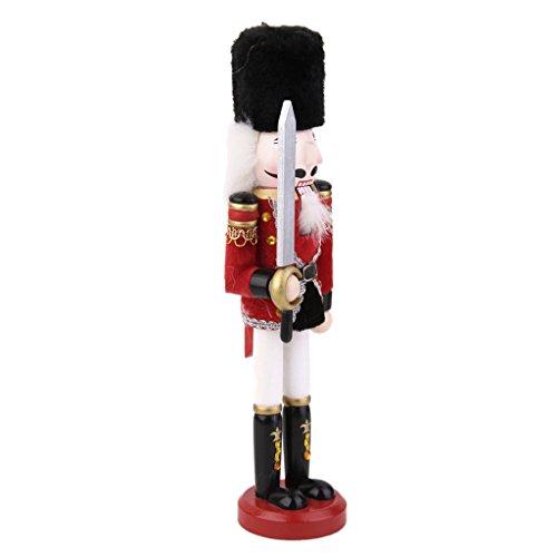 dailymall 30cm Bois Casse-Noisette Soldat Peint à la Main Figure Décoration Jouet pour Noël