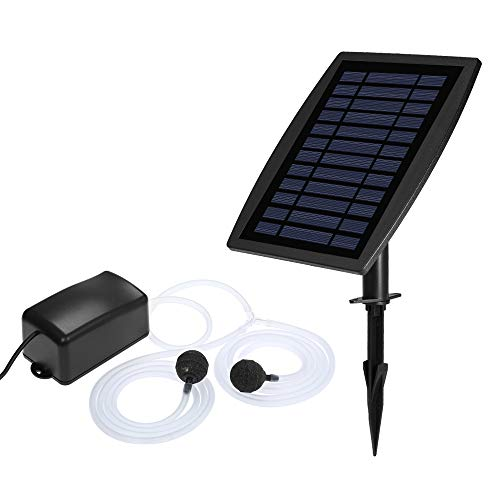 Galapara Solar Teichbelüfter Solar Aquarium Sauerstoffpumpe, Aquarium Teichbelüfter Luftpumpe Mit 2 weichen Schläuchen, 2 Luftsteinen und einem Anschluss