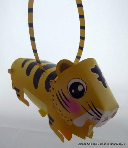 Tiger 3D-Form Chinesisches Tierzeichen Tier DIY Plastic Lantern Tang Lang mit LED-