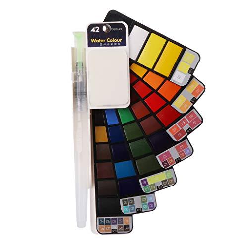 lailongp plegable fächerförmiger einfarbiger Juego de pintura, Acuarela pigmento con tragbarem Pincel de Pen Kit de, tipo Portable Supplies (42colores)