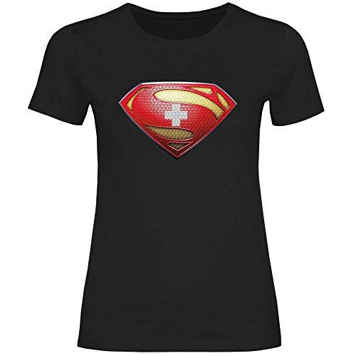 wowshirt Damen T-Shirt Schweiz Flagge Fahne Wappen, Größe:XS, Farbe:Black