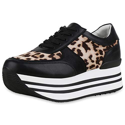 SCARPE VITA Donna Sneakers Plateau Stampe 174010 Nero 39