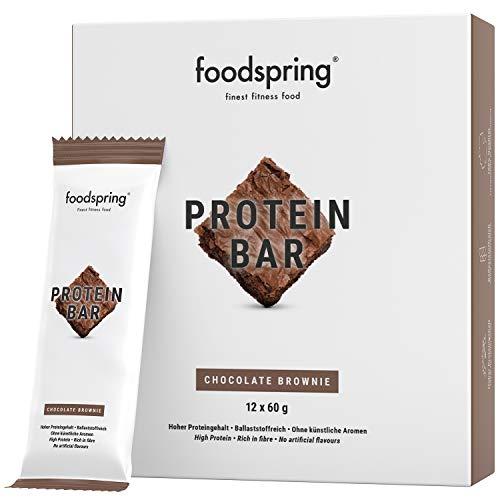 foodspring - Barrette proteiche - gusto Cioccolato Brownie - 33% di proteine - A ridotto contenuto di zuccheri - Perfette dopo l'allenamento o come snack da viaggio (12 x 60g)