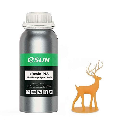 eSUN LCD UV 405nm Resina Plant-based per Stampante 3D Resina PLA Biodegradabile Fotopolimerizzante UV Resina Fotopolimerica Rapida per Stampa 3D LCD, 500g Arancia
