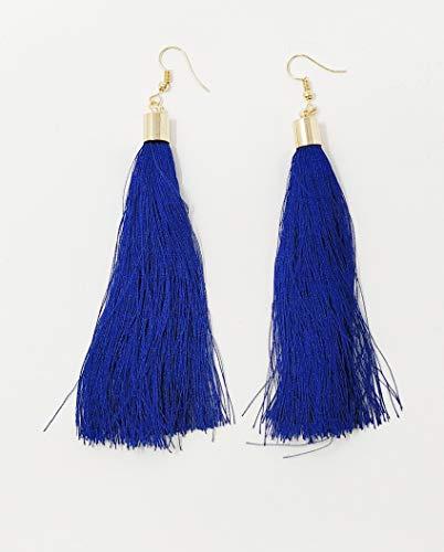 JRose Collections Tassel Dangle Earrings Long Fringe Gold Boho Ethnic Earring with Tassels (Blue)
