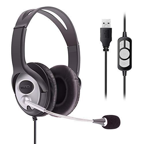 MKTBA Computer-Headset, USB-Headset mit Mikrofon, Geräuschunterdrückung und Lautstärkeregler, Computer-Kopfhörer mit Spracherkennung, Mikrofon für Business, Skype, Konferenz, Onlinekurs usw. (Black)