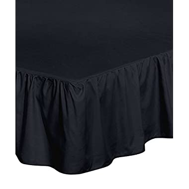 Utopia Bedding Bed Ruffle Skirt (Full, Black) - Brushed Microfiber Bed Wrap with Platform - Easy Fit - Gathered Style - 3 Sided Coverage