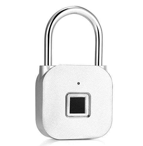 Fingerprint Padlock, IP65 Waterproof Smart Biometric Thumbprint Lock for Gym, School Locker, Luggage, Door, Cabinet, Drawer, Backpack, Suitcase, Bike, Indoor and Outdoor Use, Support USB Charging