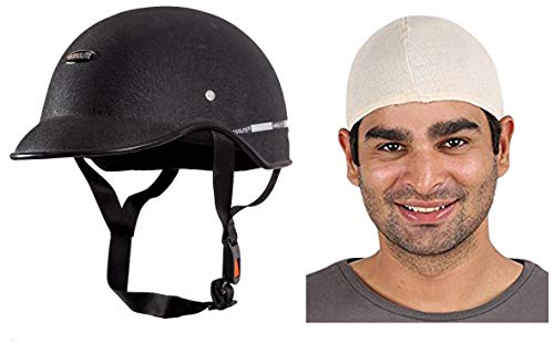 Autofy Habsolite All Purpose Safety Helmet with Strap (Black, Free Size) and...
