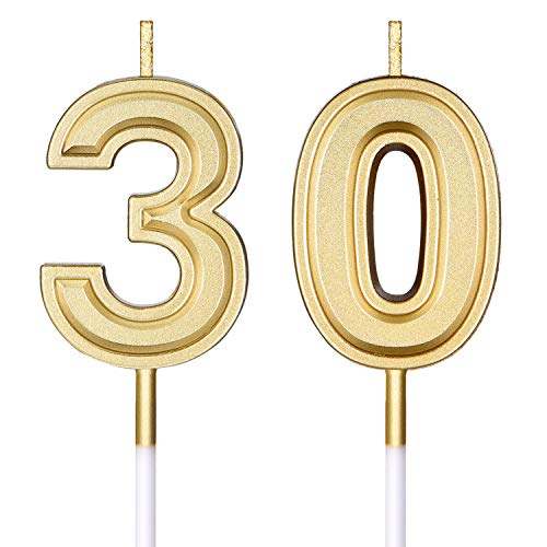 Frienda 30th Birthday Candles Cake Numeral Candles Happy Birthday Cake Candles Topper Decoration for Birthday Wedding Anniversary Celebration Supplies(Gold)