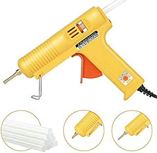 Chanseon 150 watts Industrial Hot Melt Glue Gun US Plug with 10 Pcs Glue Sticks Adjustable Temperature 2 Copper Nozzles for DIY Crafts and Quick Repairs