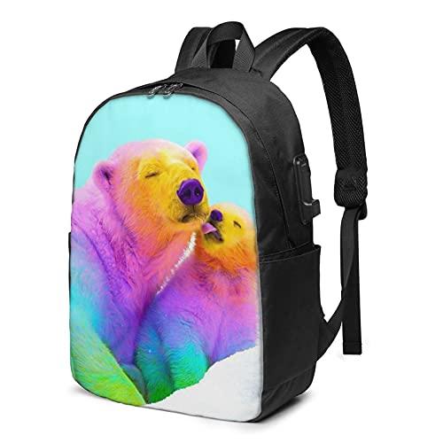 Rainbow Bears, zaino da viaggio per computer portatile con porta di ricarica USB per uomini e donne 17', Come mostrato, Taglia unica,