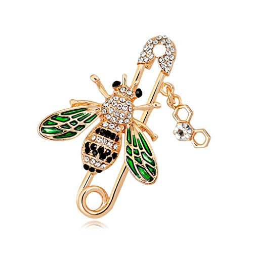 EWAT Women Brooch Pins, Bee Brooch Fashion Rhinestone Clothing Backpack Pin Creative Corsage Badge Icons