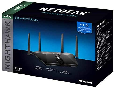 Netgear Nighthawk AX6 6-Stream AX4300 WiFi 6 Router (RAX45-100NAS) 3 Next-generation WiFi 6 (802.11ax) Technology for the Increasing Demand for Wireless Connectivity High-performance WiFi 6 Smart Homes with 20 Devices, 4x Faster Speeds than 11ac Ideal for the Growing Smart Home with Many Connected Devices or Family Members