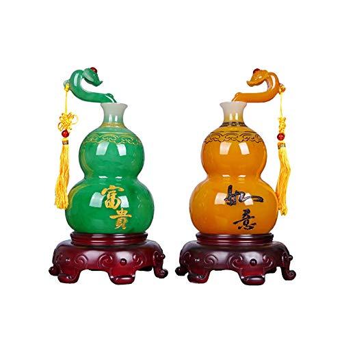 NYKK Escultura Decorativa Un par de Adornos de Calabaza Feng Shui Lucky Wu Lou Gabinete de Vino Sala de Estar Decoración Creativa Artesanía Doblewarming New Home Holiday Regalo Decoración Escritorio