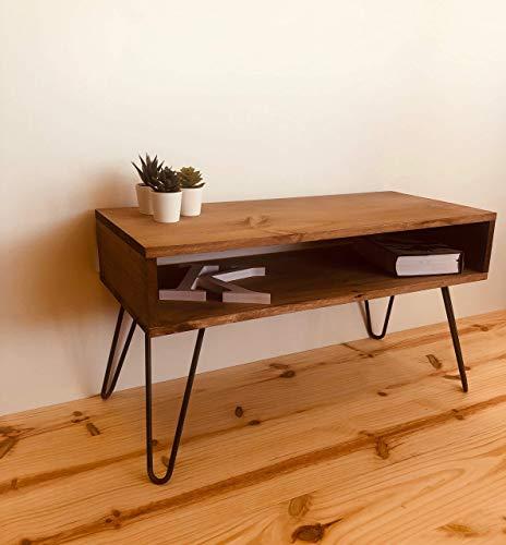 Rebajas Oferta Mesa auxiliar, mesa tv, mueble de televisión mueble auxiliar, de 80x25 madera de pino envejecido, patas pies hierro hairpin leg