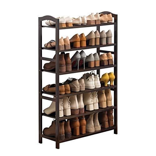 Zapatero de 6 niveles, zapatero para el hogar, zapatero de madera, estante de almacenamiento, organizador para entrada, pasillo, sala de estar, zapatero