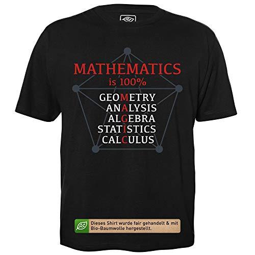 Mathematics is 100% Magic - Geek Shirt für Computerfreaks aus fair gehandelter Bio-Baumwolle, Größe M