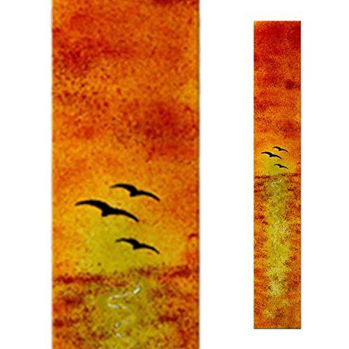 Serafinum Decoración Especial de Vidrio para lápida con pájaros Frente al Horizonte...