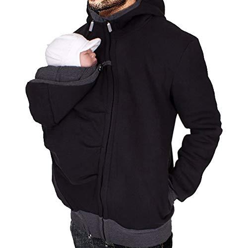 MissChild Herren Babytrage Baby Carrier Hoodies Neugeborene Känguru Jacken Hoodie Freizeitjacke Sweatshirt Papa Kangaroo Mantel Schwarz Label XL (Büste 118cm)