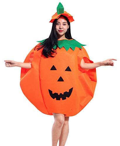 Disfraz de calabaza para adultos de Halloween unisex para mujeres y hombres, disfraces de fiesta de disfraces para cosplay, trajes de tabardo con sombrero