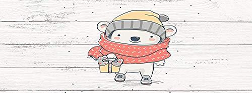 Imitation Bois Blanc Tête de Lit Impression Numérique Motif Dessin Ours Blanc en Hiver Infantile de 115x60cm |Couleur Blanc|Différentes Tailles | Cadre de lit imprimé, léger, élégant, résistant