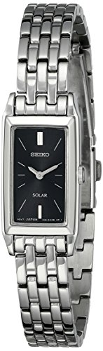 Big Sale Seiko Women's SUP043 Stainless Steel and Black Dial Baguette Solar Watch