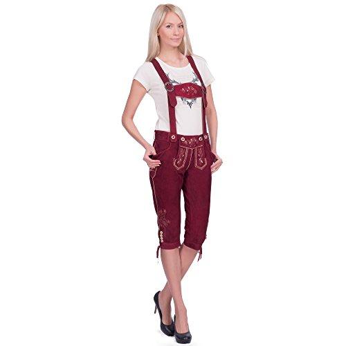 Gaudi-Leathers Damen Lova Trachten Lederhose, Rot (Bordeauxrot 010), W33 (Herstellergröße: 36)