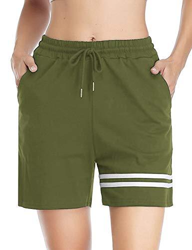 Doaraha Pantalones Corto Chandal Mujer 100% Algodón Pantalon Corto Pijama de Raya Pantalones Deporte Cortos para Fitness,Running,Dormir