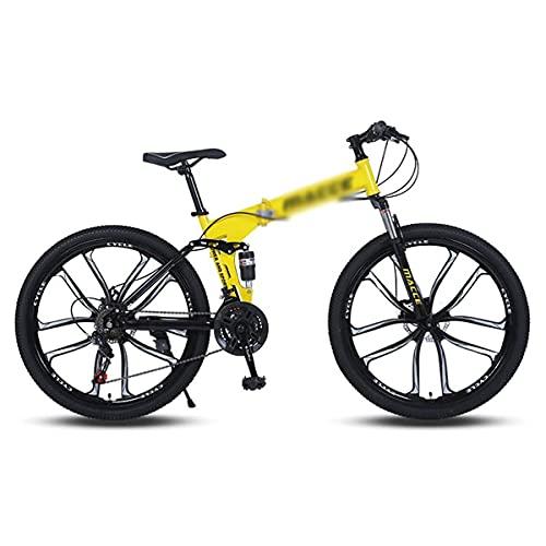 Bicicleta de montaña plegable de 26 pulgadas, marco de acero de alto carbono, bicicleta de suspensión delantera plegable MTB de 21/24/27 velocidades para adultos, hombres, mujeres (tamaño: 21 velocida