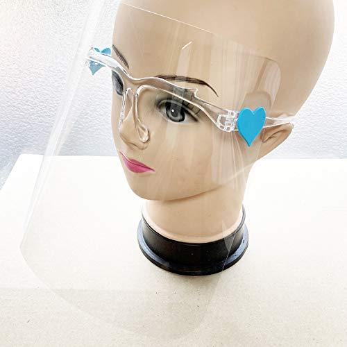 フェイスシールド メガネ型 透明 接合部 ハート FACE SHIELD フェイスガード 軽量 (5セット)