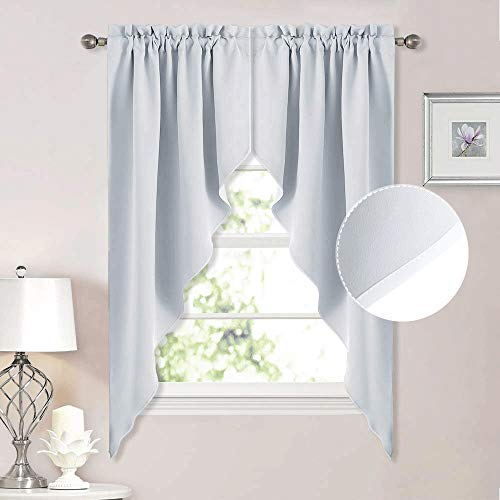NICETOWN Room Darkening Window Treatments Pole Pocket Kitchen Tier Curtains- Tailored Scalloped Valance/Swags for Bedroom (One Set, W36 X L63 inches Each Panel, Platinum-Greyish White)
