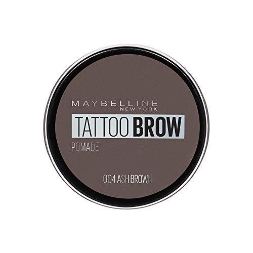 Maybelline New York Augenbrauenfarbe, Wasserfest und langanhaltend, Tattoo Brow Pomade, 004 Ash Brown, 3,5 ml