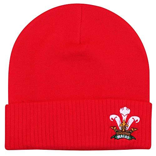 Cappello invernale a cuffietta con stemma nazionale gallese di rugby WRU, prodotto con licenza ufficiale