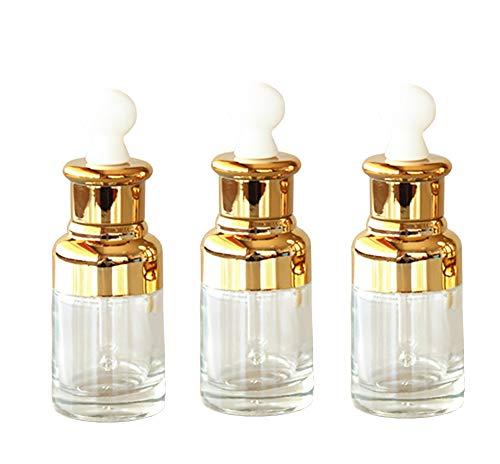 JIHUOO 3 Stück 30 ml Klar Glas Flasche Nachfüllbar Pipettenflasche Tropfflasche Kosmetik Behälter Golden