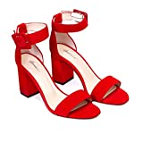 Frida - Sandalias Tobilleras Rojas de Vestir para Mujer en Piel - Tacon Alto Ancho 8 cm - Cierre con Hebilla al Tobillo - Moda Tendencia Elegantes Fiesta - Piel Ante Rojo - Rojo 41 EU