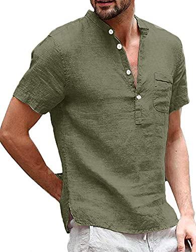 Henley, camicia da uomo in lino, a maniche corte, estiva, vestibilità normale, per il tempo libero, da pescatore, da uomo, verde scuro, M