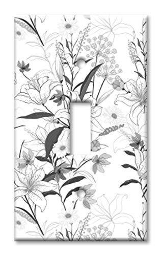 Art Plates 1 Gang Toggle Wall Plate - Grayscale Floral Line Art