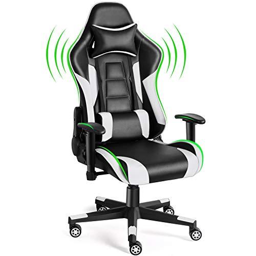Twomaples Silla de videojuegos, silla de oficina de carreras para videojuegos, asiento de respaldo ergonómico, altura y reposabrazos, basculante reclinable ajustable con reposacabezas y almohada lumbar, silla E-Sports (blanco)