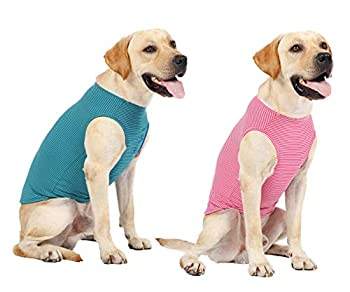 WEONE Dog Summer T-Shirts Striped Cotton Vest,Pet Breathable Soft Basic Clothes for Small Medium Larg Boy Girl Dogs,3XL