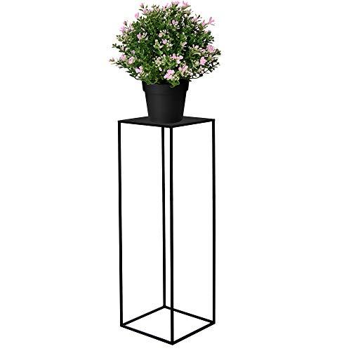 SPRINGOS Blumensäule Pflanzenhocker 100 cm Blumenständer Blumentisch Metall Dekoration Blumentisch Loft Stil Raumgestaltung Haus&Garten (Schwarz)