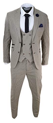 House Of Cavani Abito Elegante da Uomo 3 Pezzi Scacchi Principe di Galles Classico - Beige 38UK, 48IT Giacca - 32' Pantaloni