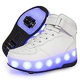 LED Luces Zapatos con Ruedas Dobles para Pequeños Niños y Niña, Automática Calzado de Skateboarding Deportes de Exterior Patines en Brillante Aire Libre y Deporte Gimnasia Zapatillas,Blanco,37