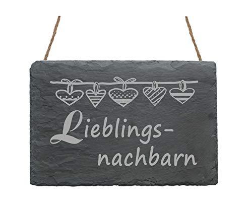 Wetterfeste Schiefertafel « LIEBLINGSNACHBARN » Schild mit Motiv Herzen - Größe ca. 22 x 16 cm - Türschild Dekoration Dekoschild - Geschenk für die lieben Nachbarn