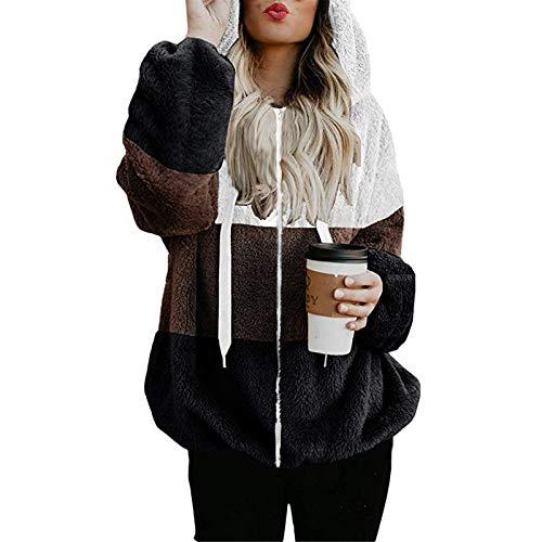feftops Empalme Abrigos Mujer Invierno Plumas Rebajas Largos Espesar Elegante Sudadera con Capucha Caliente y Esponjoso para Otoño Invierno Talla Grande Hoodie Chaqueta Suéter Felpa Suelto Streetwear