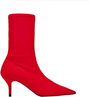 Sock Boots Woman Sexy High Heel Shoes Women Black red Yellow Stretch Boots