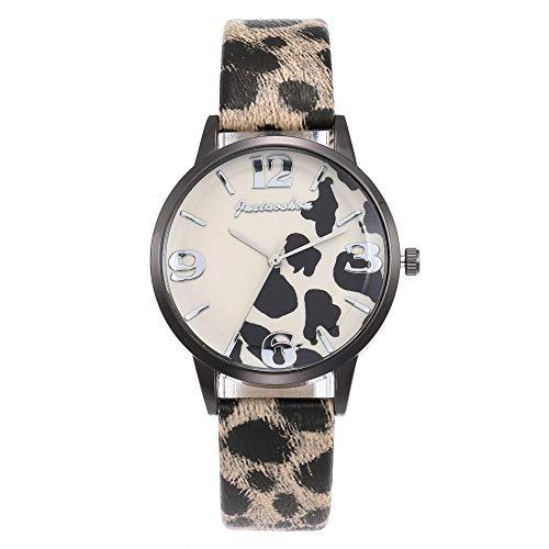 JZDH Relojes De Las Mujeres Reloj del Estudiante del Reloj del Leopardo De Imitación De Cuero Reloj De Señoras De Los Hombres De Moda Señora Reloj (Color : 6)